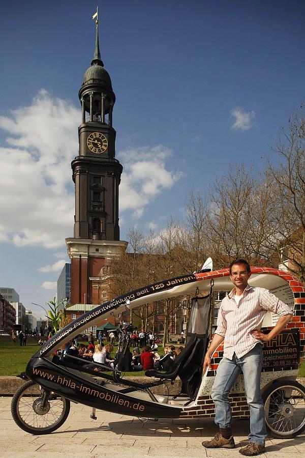 Bild Stadtführung Hamburg Stadtführer Tilman Hagner Fahrradtaxi Michel